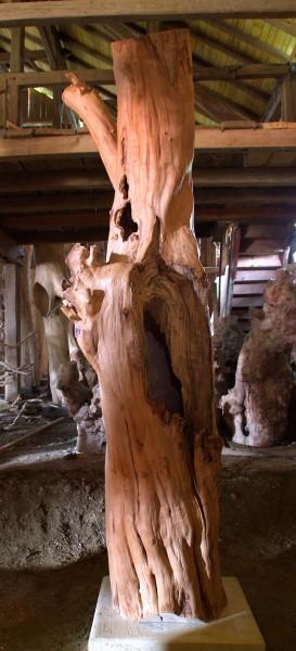 """Holzskulptur """"Obstgarten, schräg stehende, aufgerissene Gestalt"""" / SKUL 090-51"""