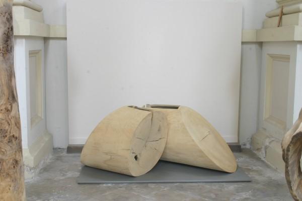 """Holzskulptur """"Zwei geometrische Gefäße"""" / SKUL 097"""